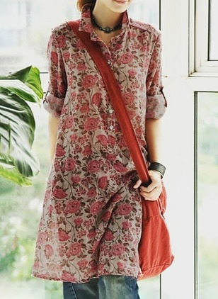 Floral Shirt Half Sleeve Knee-Length Shift Dress