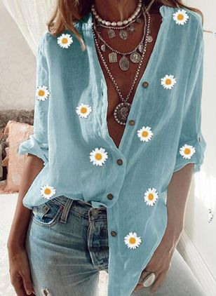 Floral Casual V-Neckline Long Sleeve Blouses (4457558)