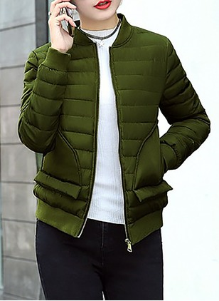 Cotton & Cotton Blend Long Sleeve Round Neck Pockets Down Coats Coats