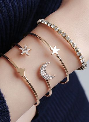 Casual Geometric Crystal Bangle Bracelets (4038908)