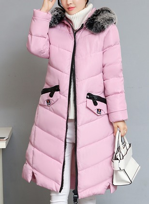 Long Sleeve Round Neck Zipper Padded Coats