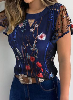 Floral Casual Round Neckline Short Sleeve Blouses (4294203)
