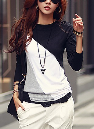 Cotton Color Block Round Neck Short Sleeve Casual T-shirts