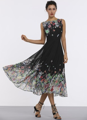 Floral Sleeveless Midi A-line Dress