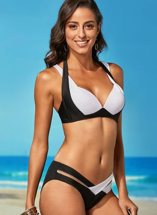 Polyester Color Block With Rim Bikinis Swimwear (1288701)