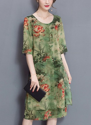 Floral Long Sleeve Knee-Length A-line Dress