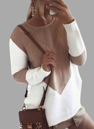 Color Block Knitted Round Neckline Long Sleeve Blouses