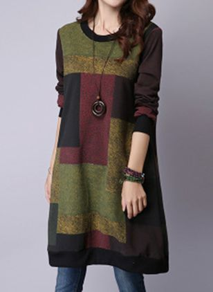 Casual Color Block Sweater Round Neckline Shift Dress (1413103)
