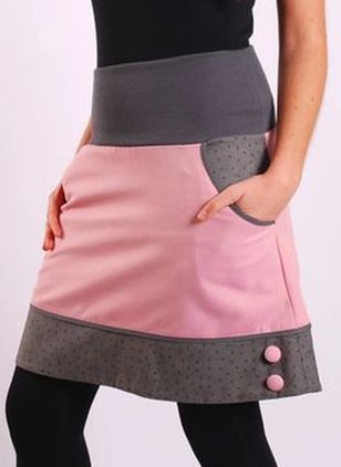 Color Block Above Knee Casual Buttons Pockets Skirts (128230094)