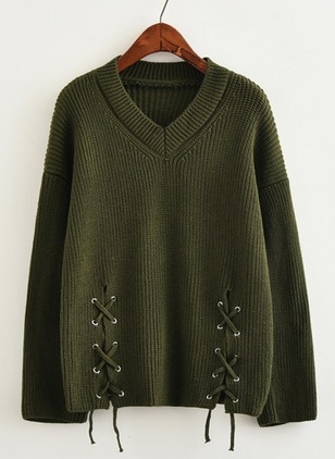 Knitted V-Neckline Solid Loose Others Sweaters