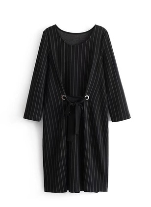 Stripe Wrap Long Sleeve Midi Shift Dress