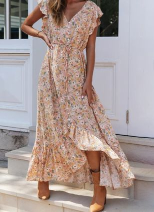 Casual Floral Wrap V-Neckline X-line Dress (100547257)