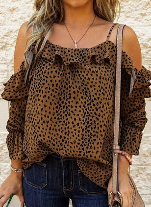 Leopard Casual Camisole Neckline Long Sleeve Blouses (147017483)