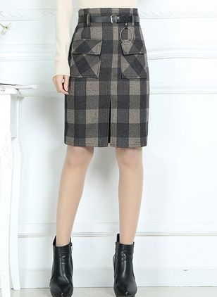 Check Above Knee Casual Pockets Sashes Skirts