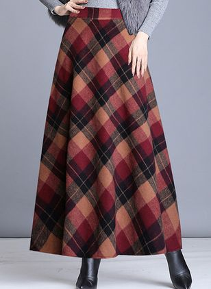 Color Block Maxi Casual Nederdele (109555665)