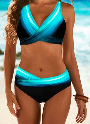 Polyester Color Block Knotted Bikinis Swimwear (100448376)