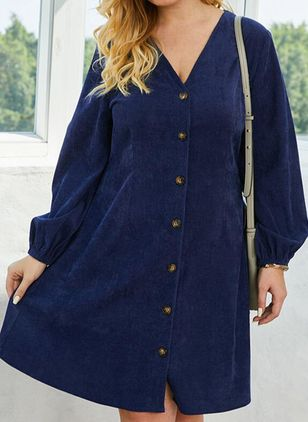 Plus Size Casual Solid Tunic V-Neckline A-line Dress (111798713)