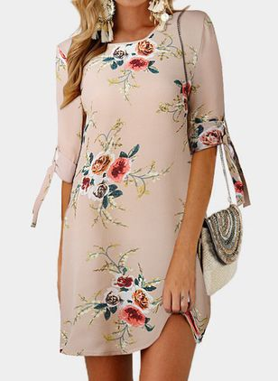 Casual Floral Tunic Round Neckline Shift Dress (1519087)