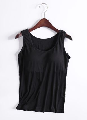 Solid Round Neck Sleeveless Casual T-shirts (146982579)