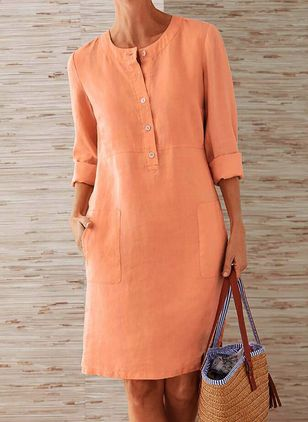 Casual Solid Tunic Round Neckline Shift Dress (147244380)