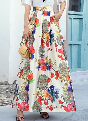 Floral Maxi Casual Pockets Skirts (104917660)