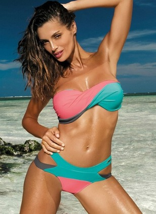 Polyester Bandeau Color Block With Rim Bikinis Swimwear