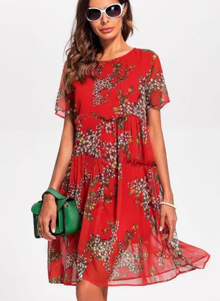 Floral Peasant Round Neckline Knee-Length Shift Dress (1198499)