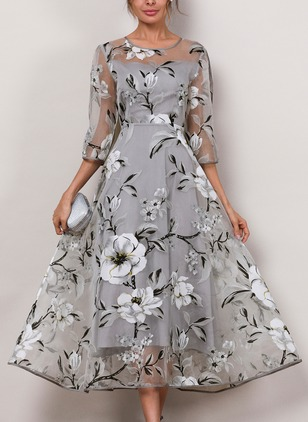 Floral 3/4 Sleeves Midi A-line Dress