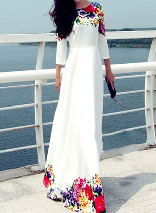 Floral Tshirt 3/4 Sleeves Maxi A-line Dress