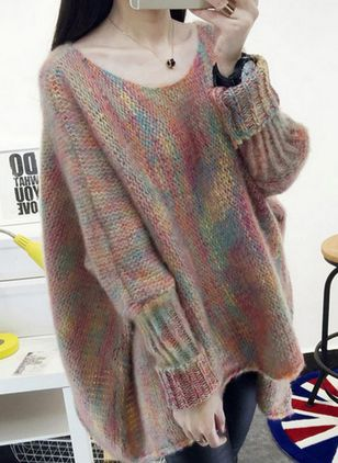 Round Neckline Color Block Oversized Long Shift Sweaters