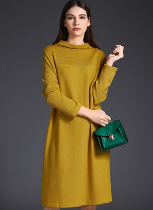 Casual Solid Others High Neckline Shift Dress (1111546)
