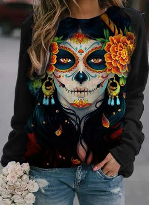 Floral Halloween Round Neckline Long Sleeve Blouses (108088450)