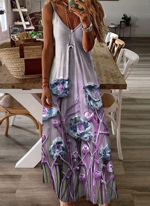 Robes Casual Florale Sans manches Maxi (147221389)