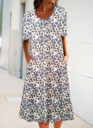 Casual Floral Shirt Round Neckline A-line Dress (4355828)