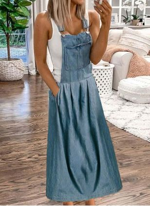 Casual Solid Slip Camisole Neckline X-line Dress (1531953)