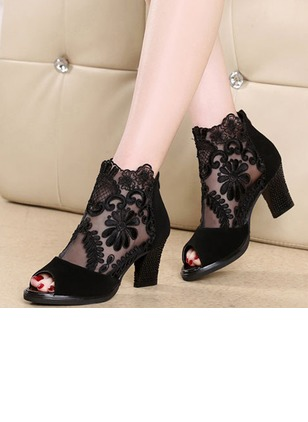 Pumps Women's Peep Toe Tumit Tebal