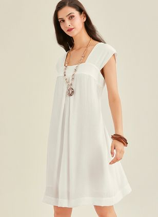 Casual Solid Tunic Square Neckline Shift Dress (1295749)