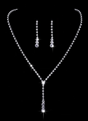 Round Crystal Necklace Earring Jewelry Sets
