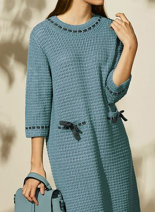 Casual Solid Pockets Tunic Shift Dress (1417923)