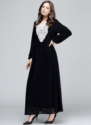 Color Block Lace Long Sleeve Maxi Shift Dress