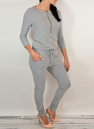 Cotton Blends Solid Long Sleeve Casual Jumpsuits & Rompers