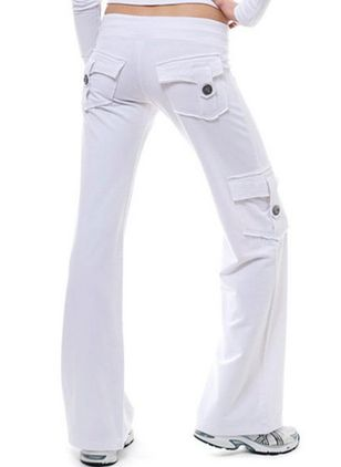 Casual Bootcut Buttons Pockets Mid Waist Polyester Pants (131286654)