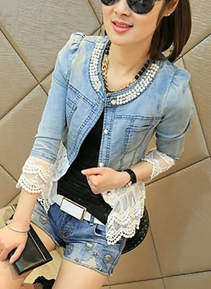 Denim 3/4 Sleeves Round Neck Lace Jackets