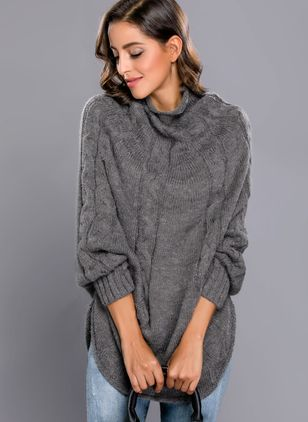 High Neckline Solid Loose A-line Sweaters
