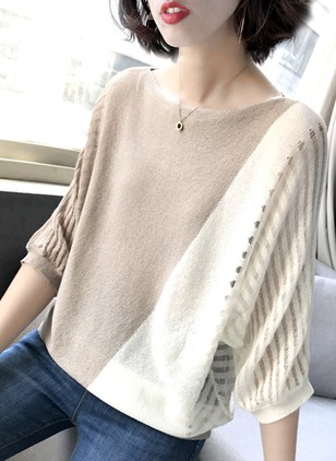 Color Block Cotton Round Neckline 3/4 Sleeves Blouses