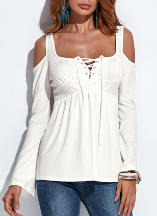 Solid Casual Polyester Square Neckline Long Sleeve Blouses