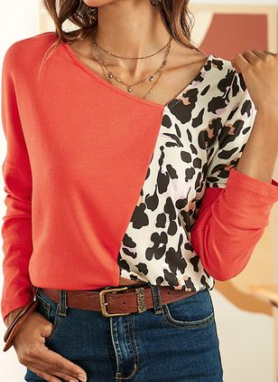 Color Block Casual V-Neckline 3/4 Sleeves Blouses (1497836)