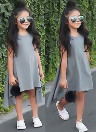 Girls' Casual Solid Going Out Sleeveless Dresses