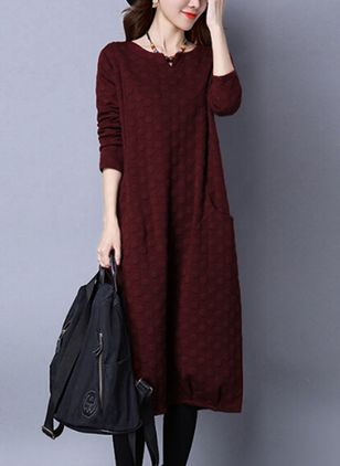 Solid Pockets Long Sleeve Midi Shift Dress