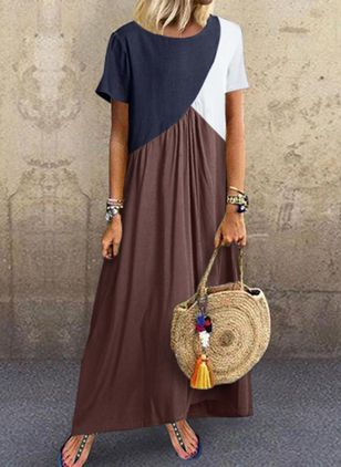 Color Block Short Sleeve Maxi Shift Dress